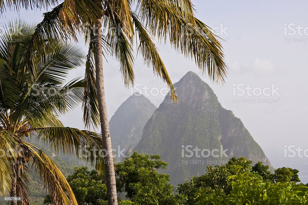Gros and Petit Pitons, Soufriere Saint Lucia stock photo