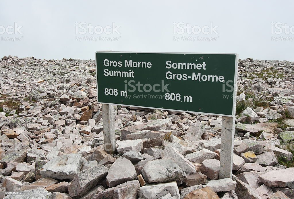Gros Morne Summit Sign stock photo