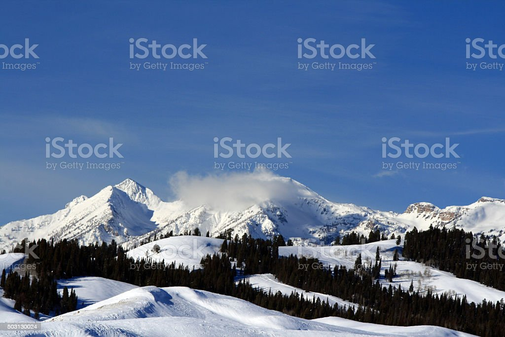 Gros Ventre Mountain Range above Hoback River Valley stock photo