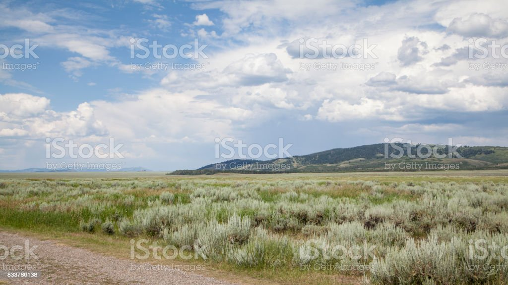 Gros Ventre River Valley as viewed from Mormon Row in the Grand Teton National Park with an activity blue and cloudy sky stock photo