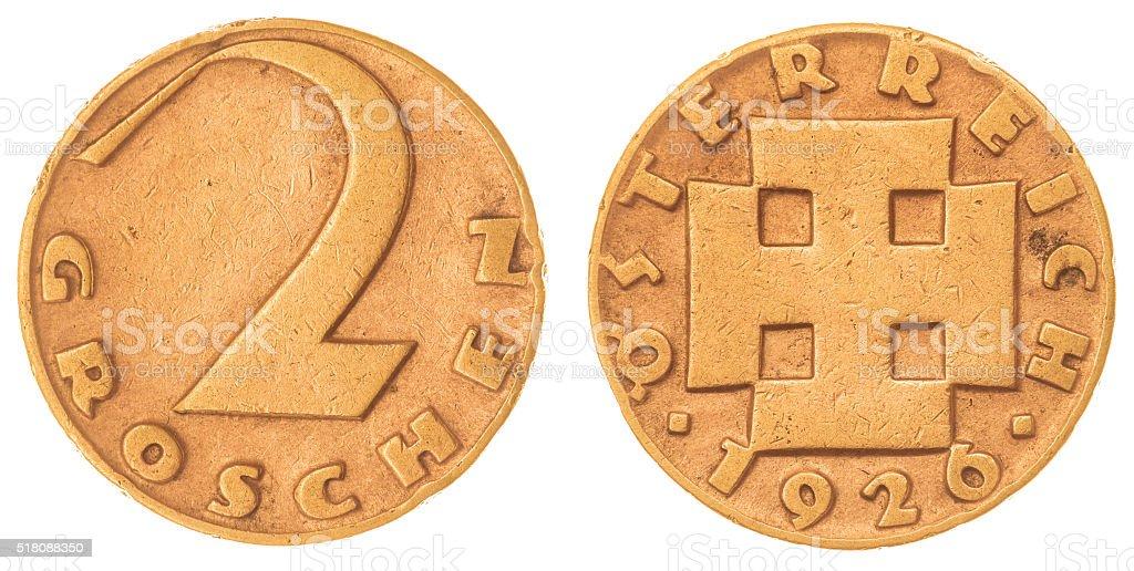 2 groschen 1926 coin isolated on white background, Austria stock photo