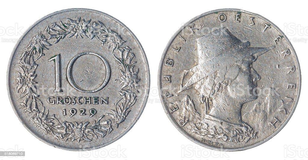 10 groschen 1929 coin isolated on white background, Austria stock photo