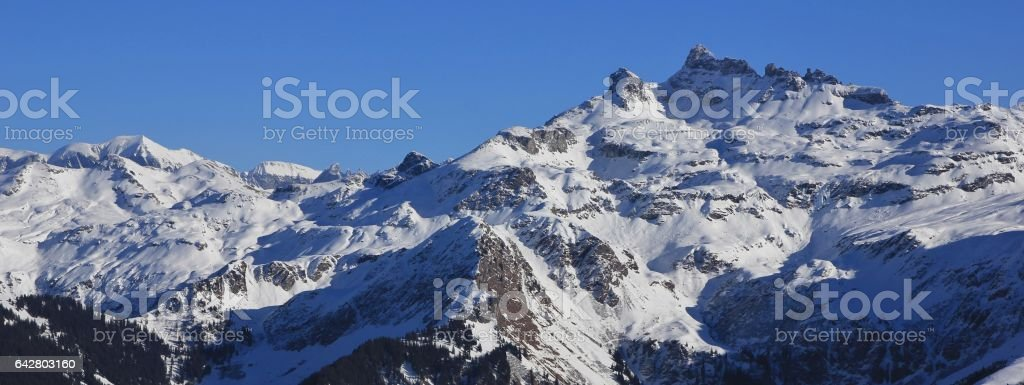 Gross Charpf and other mountains in Glarus Canton, winter scene stock photo