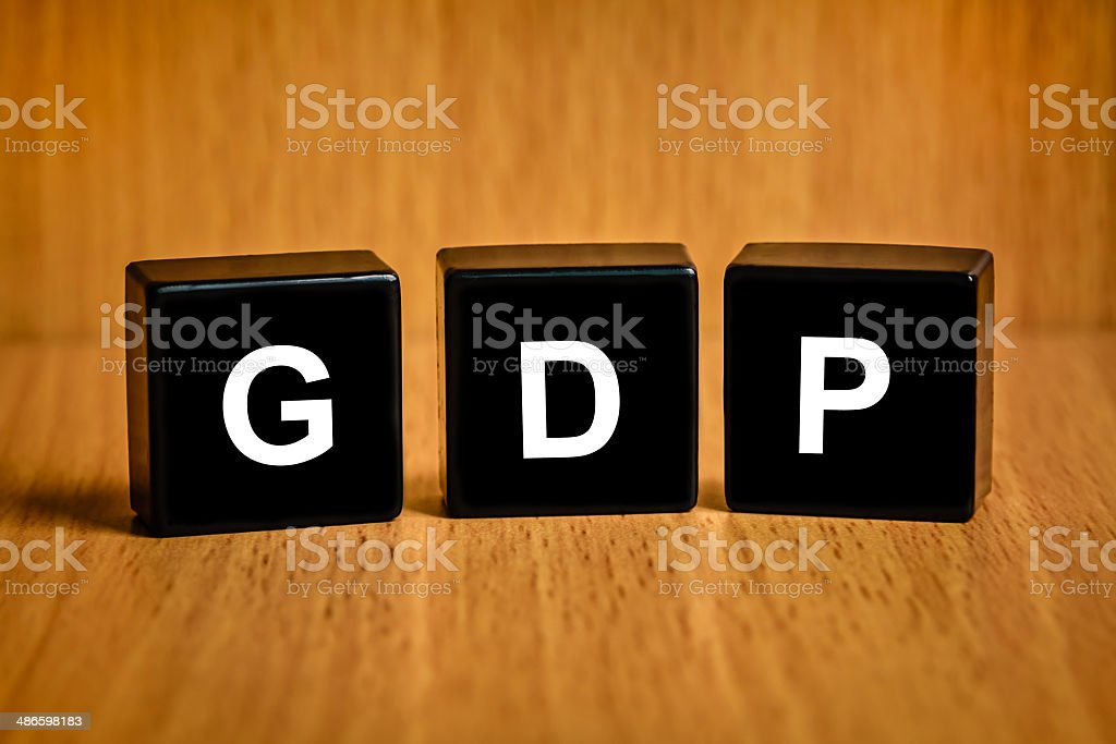 gross domestic product or GDP word on black block stock photo