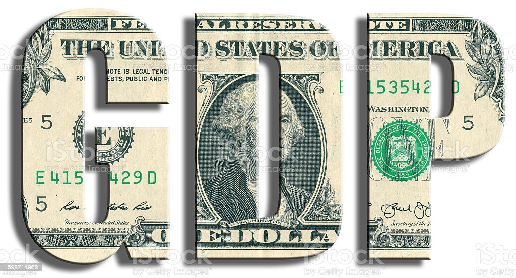 GDP - Gross Domestic Product. US Dollar texture. stock photo