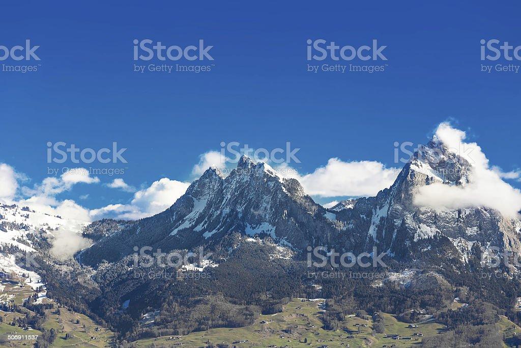 Grosser und Kleiner Mythen mountains in Central Switzerland stock photo