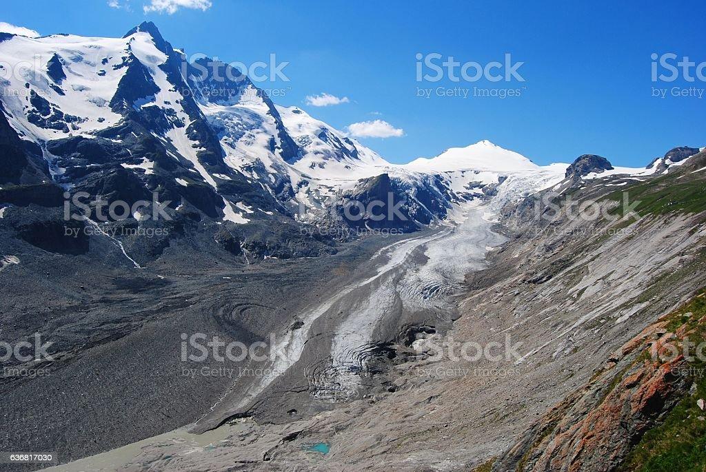 Grossglockner, Johannisberg and Hohe Riffl peaks in Austria. stock photo