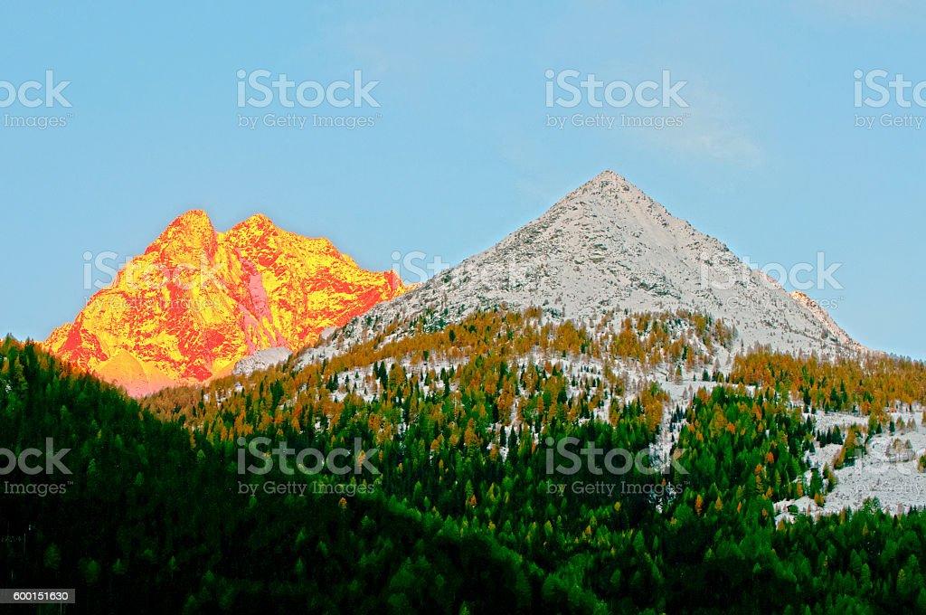 Grossglockner peaks sunrise stock photo