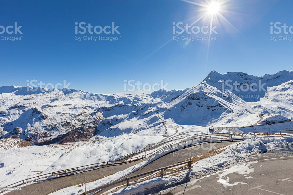 Grossglockner road before winter time. stock photo