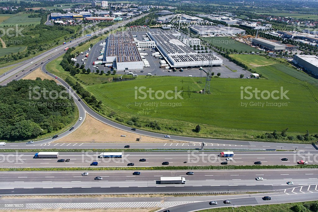 Grossmarkthalle Frankfurt and highway A5 stock photo