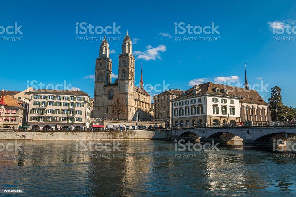 Grossmünster church in Zurich stock photo