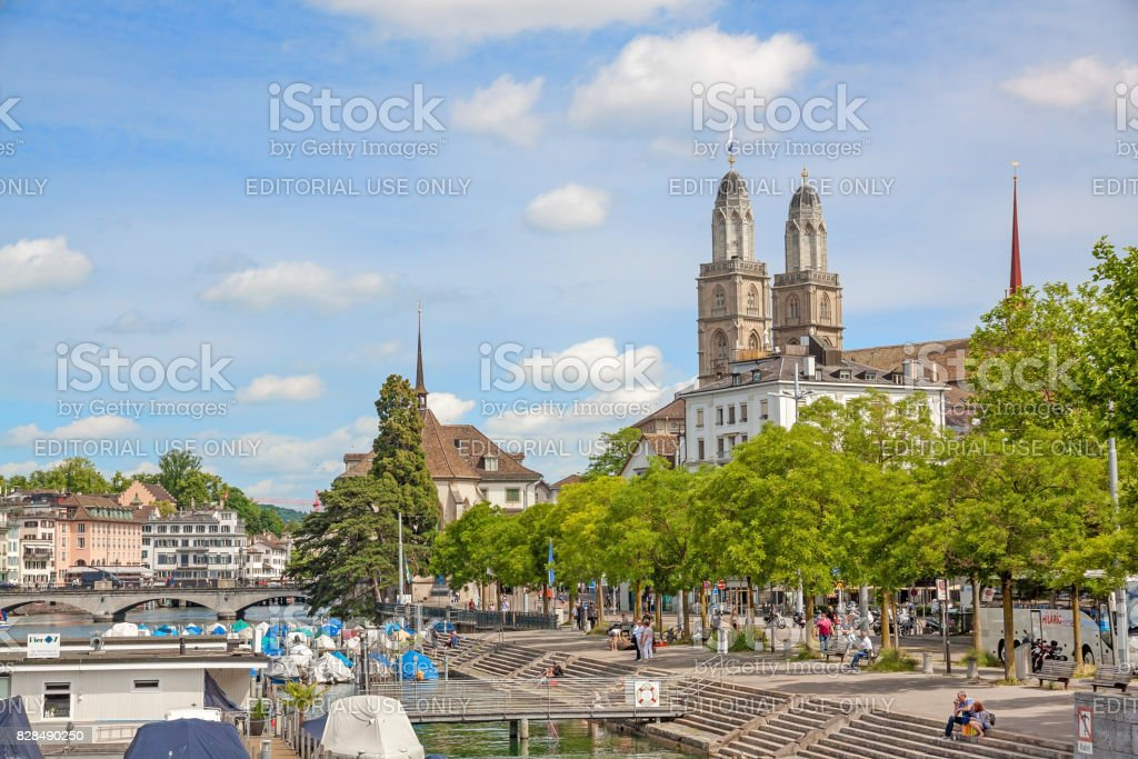 Grossmunster and Limmat stock photo