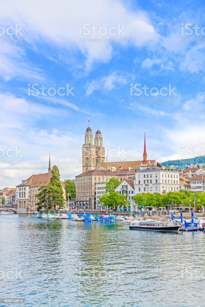 Grossmunster and Limmat, Zuerich stock photo