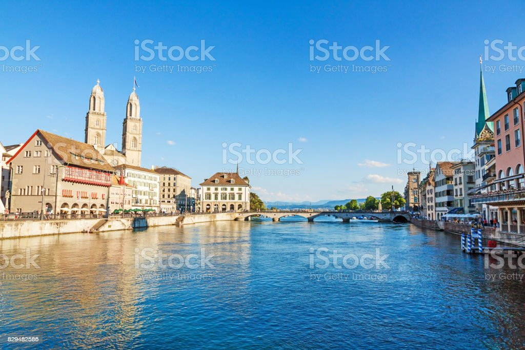 Grossmunster and river Limmat, Zuerich stock photo