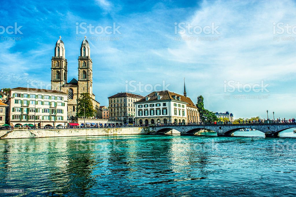 Grossmunster Cathedral with River Limmat, Zurich, Switzerland stock photo