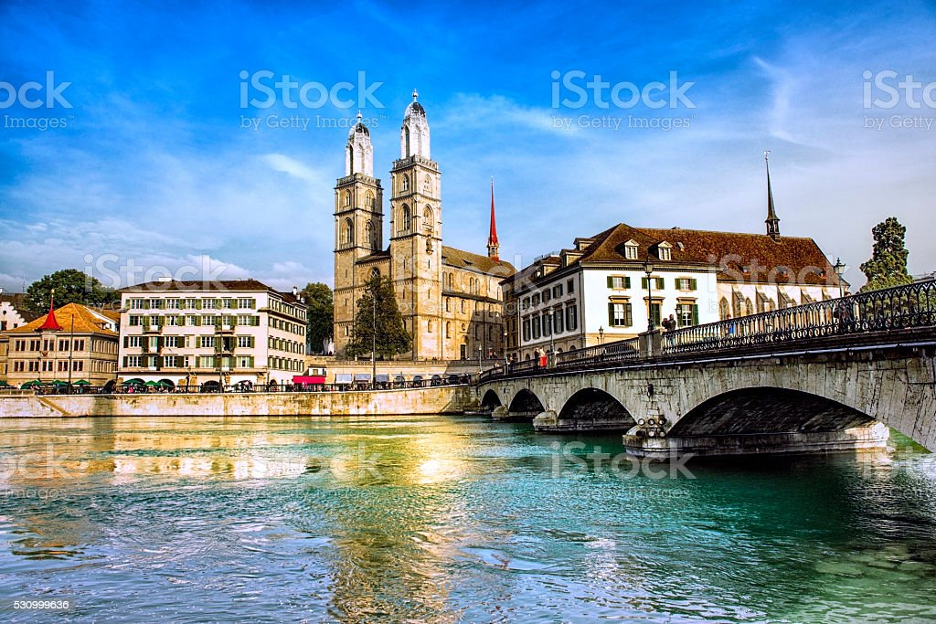 Grossmunster Cathedral with River Limmat, Zurich, Switzerland stock photo