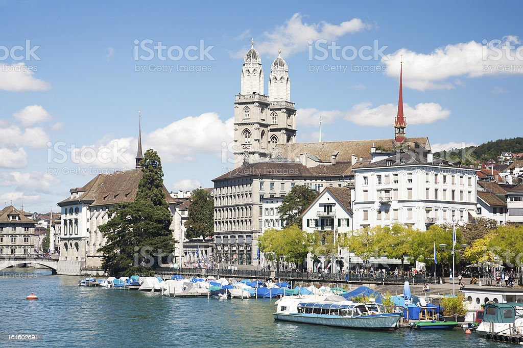 Grossmunster cathedral with river limmat.Zurich. stock photo