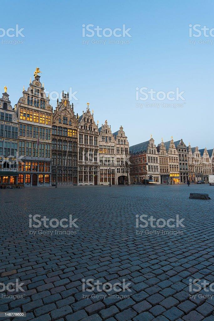 Grote Markt Guild Houses Antwerp Blue Hour stock photo
