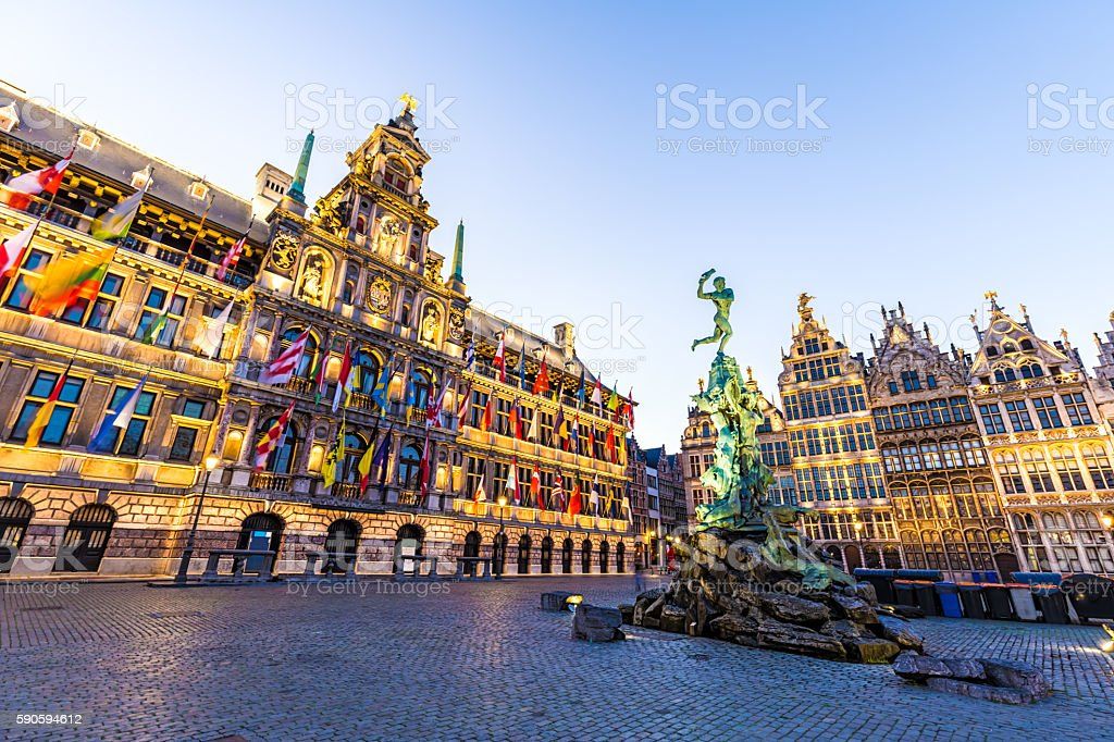 Grote Markt in Antwerp with Statue stock photo