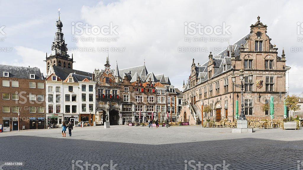 'Grote Markt' square downtown Nijmegen, the Netherlands, panorama stock photo