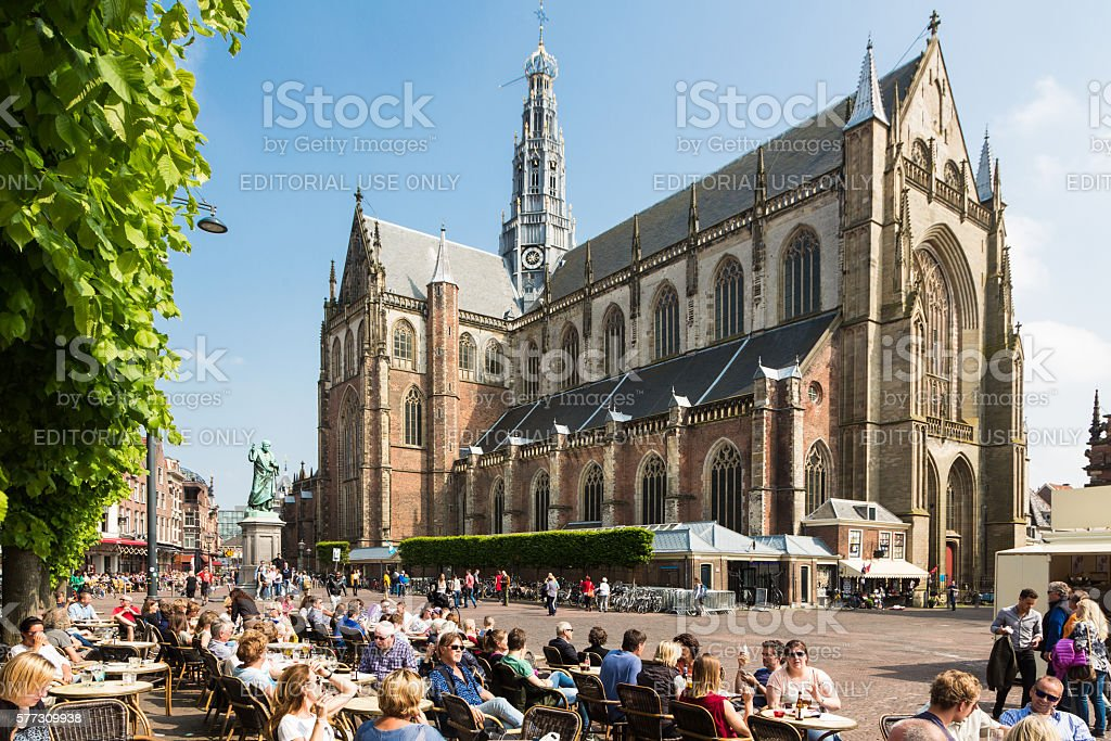 Grote Markt square in Haarlem stock photo