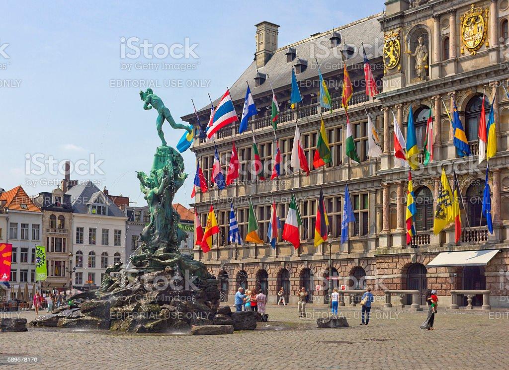 Grote Markt with famous Statue of Brabo in Antwerp, Belgium stock photo