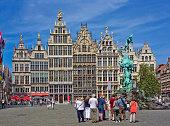 Grote Markt with famous Statue of Brabo in Antwerp, Belgium