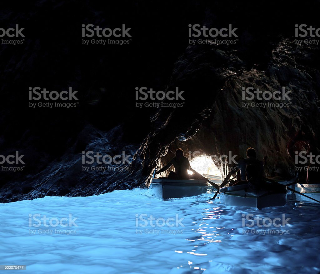 Grotta Azzurra, cave on the coast of Capri. stock photo