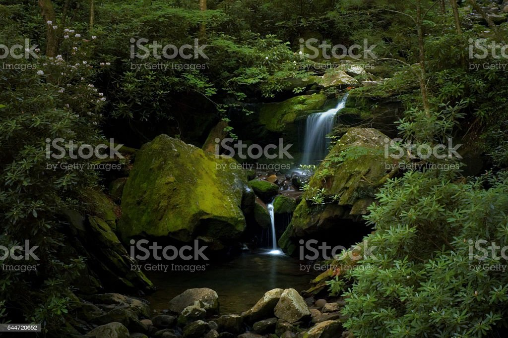Grotto Falls along Roaring Fork, Great Smoky Mountains, Tennessee stock photo