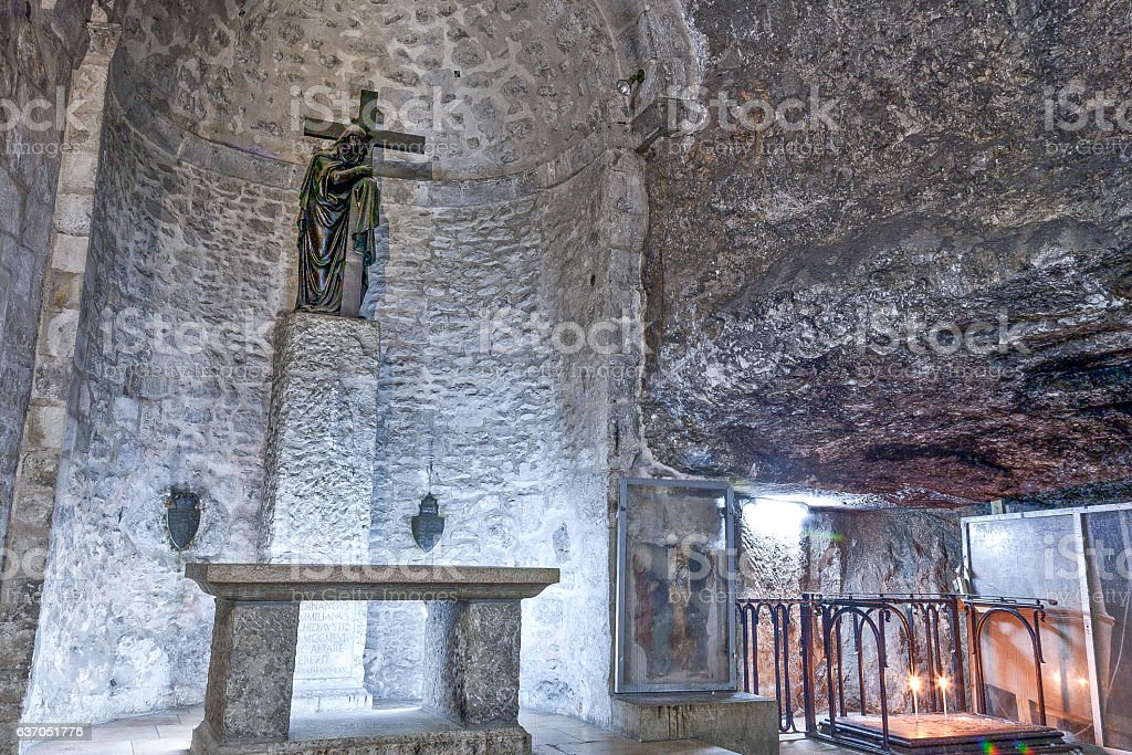Grotto of Invention of Cross in Church of Holy Sepulchre stock photo
