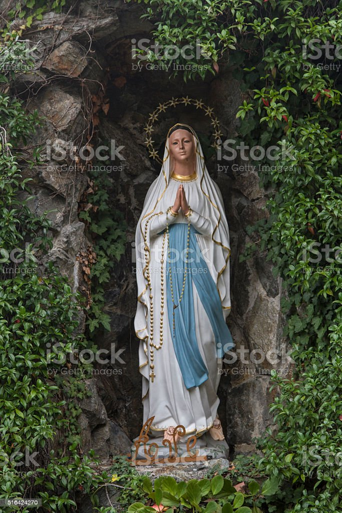Grotto with Virgin Mary stock photo
