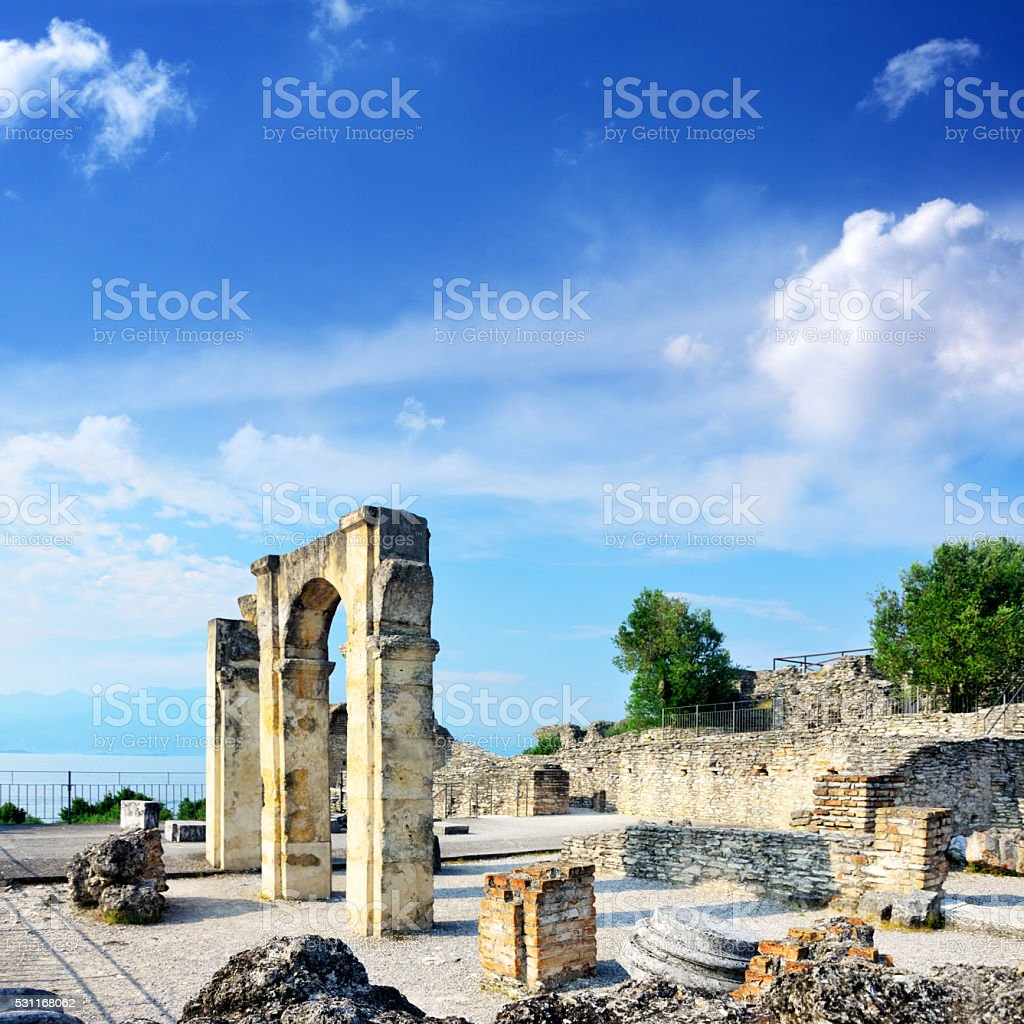 Grottoes of Catullus, Sirmione stock photo