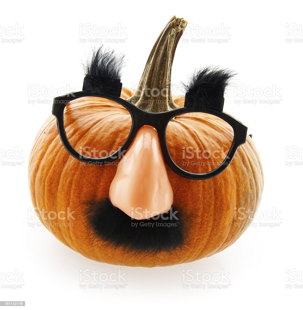 Groucho Marx Disguise Pumpkin stock photo