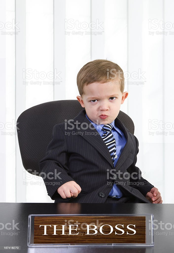 grouchy boss stock photo