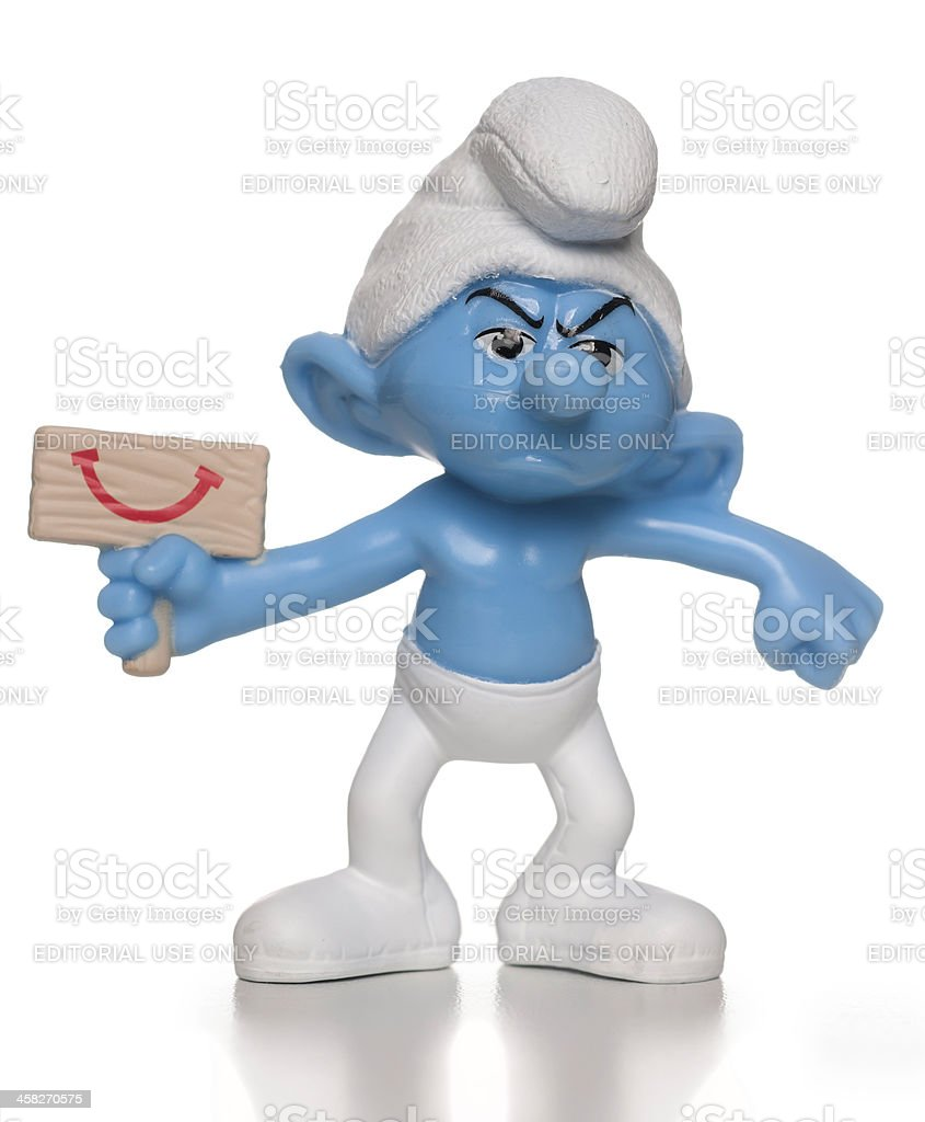Grouchy Smurf McDonalds happy meal toy stock photo