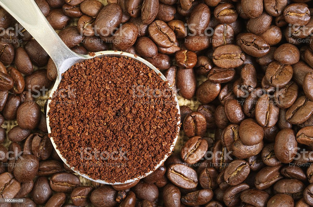 Ground and Whole Coffee Beans royalty-free stock photo