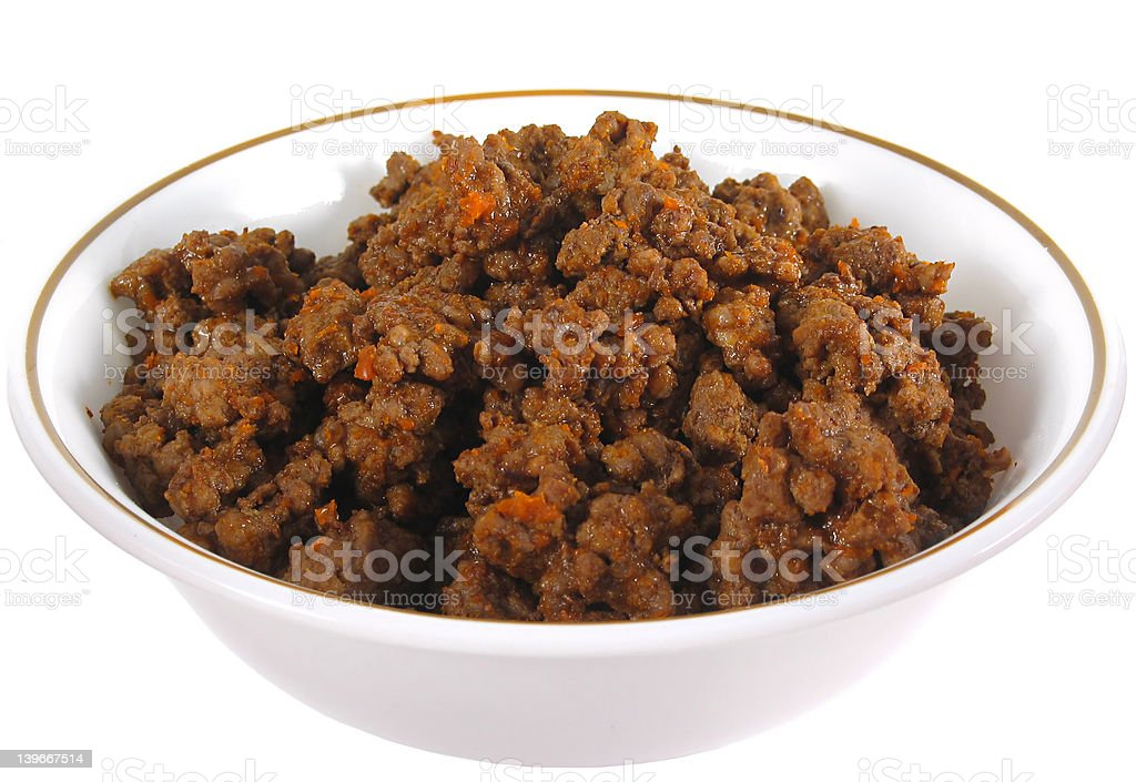 Ground beef in a bowl Isolated royalty-free stock photo