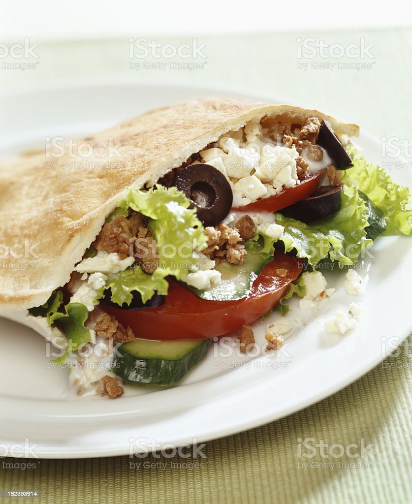 Ground beef on pita bread stock photo