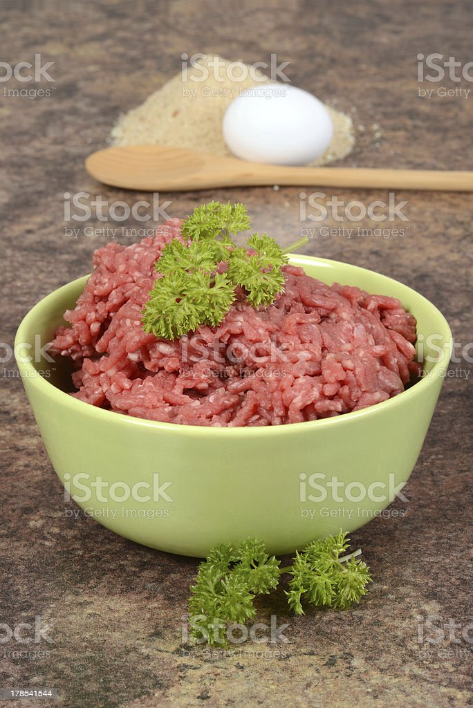 ground beef with parsley royalty-free stock photo