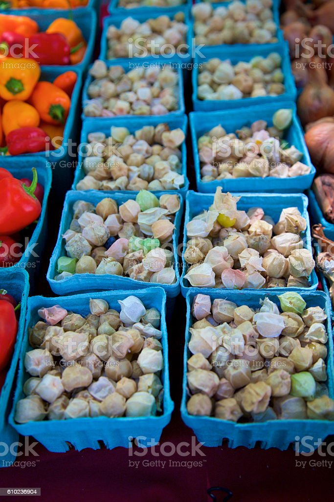 Ground cherries at the farmer's market stock photo