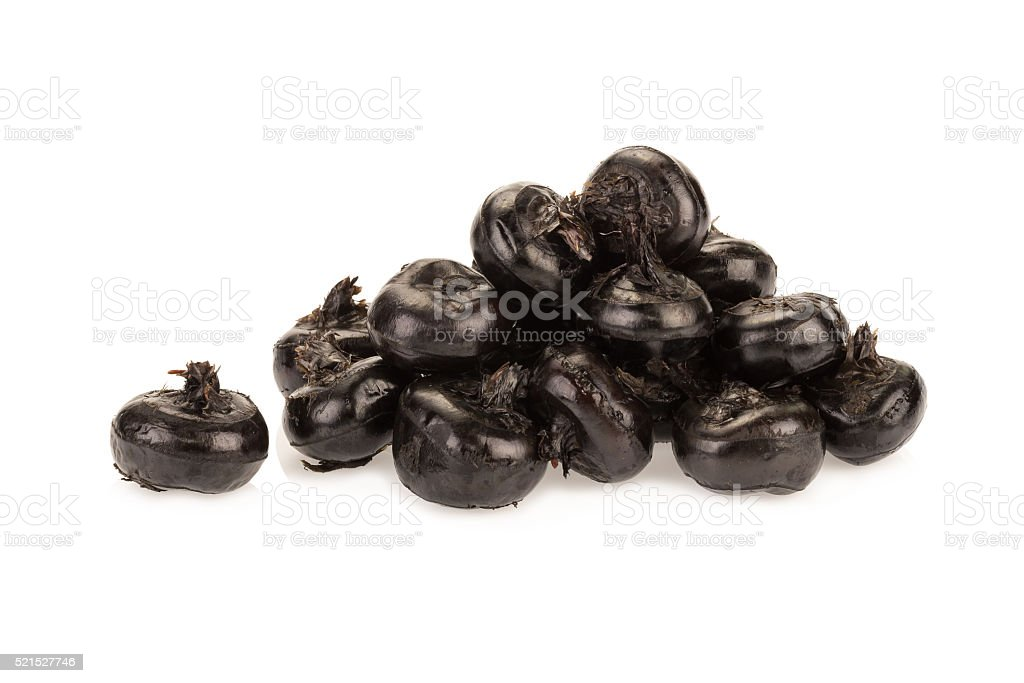 Ground chesnut on white background stock photo