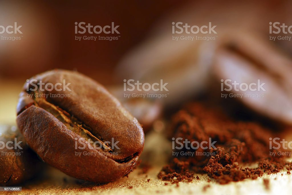 Ground coffee and beans royalty-free stock photo