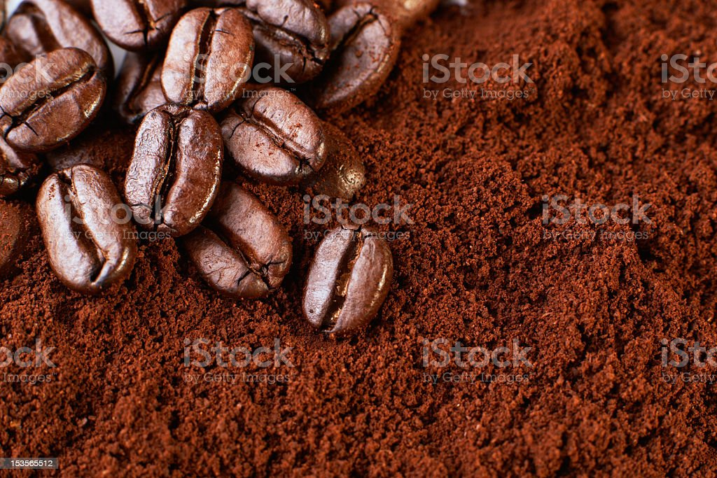 Ground coffee and coffee beans stock photo