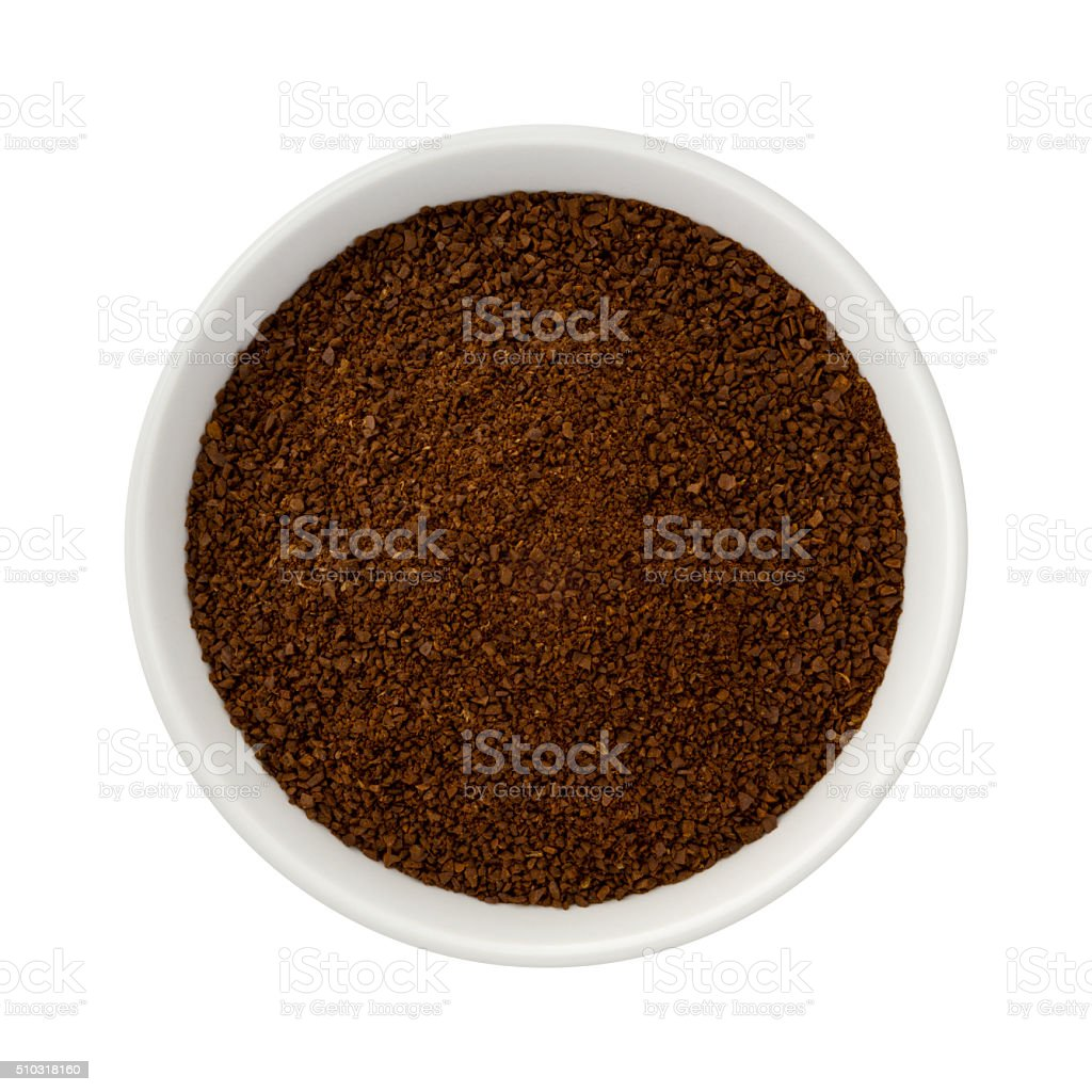 Ground Coffee in a Ceramic Bowl stock photo