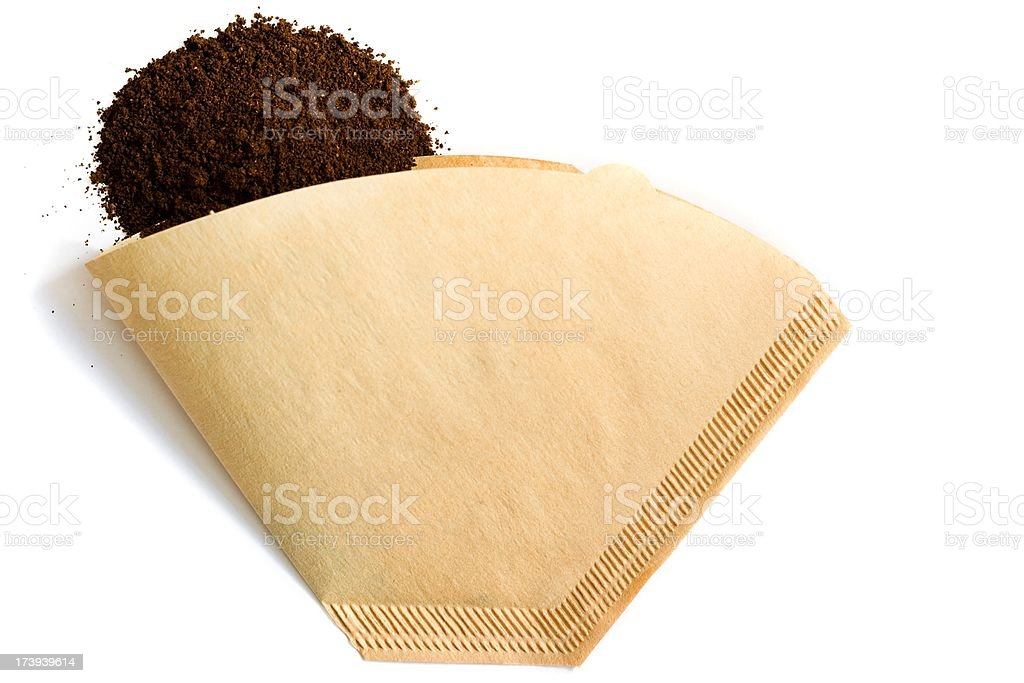 Ground coffee pile and filter on white background stock photo