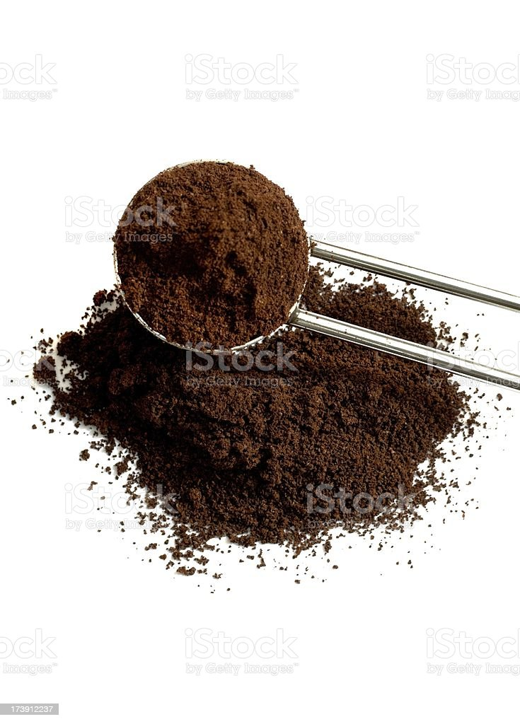 Ground Coffee Pile with Spoon isolated royalty-free stock photo