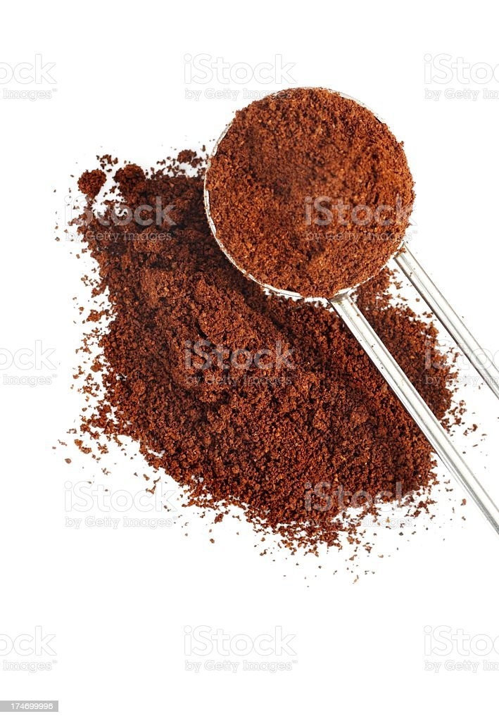 Ground coffee pile with spoon isolated stock photo