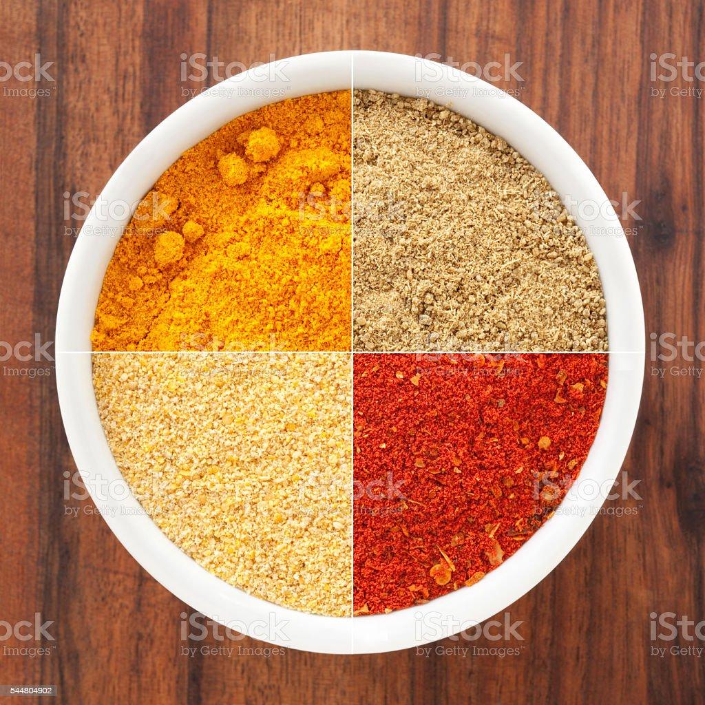 Ground condiments composition stock photo
