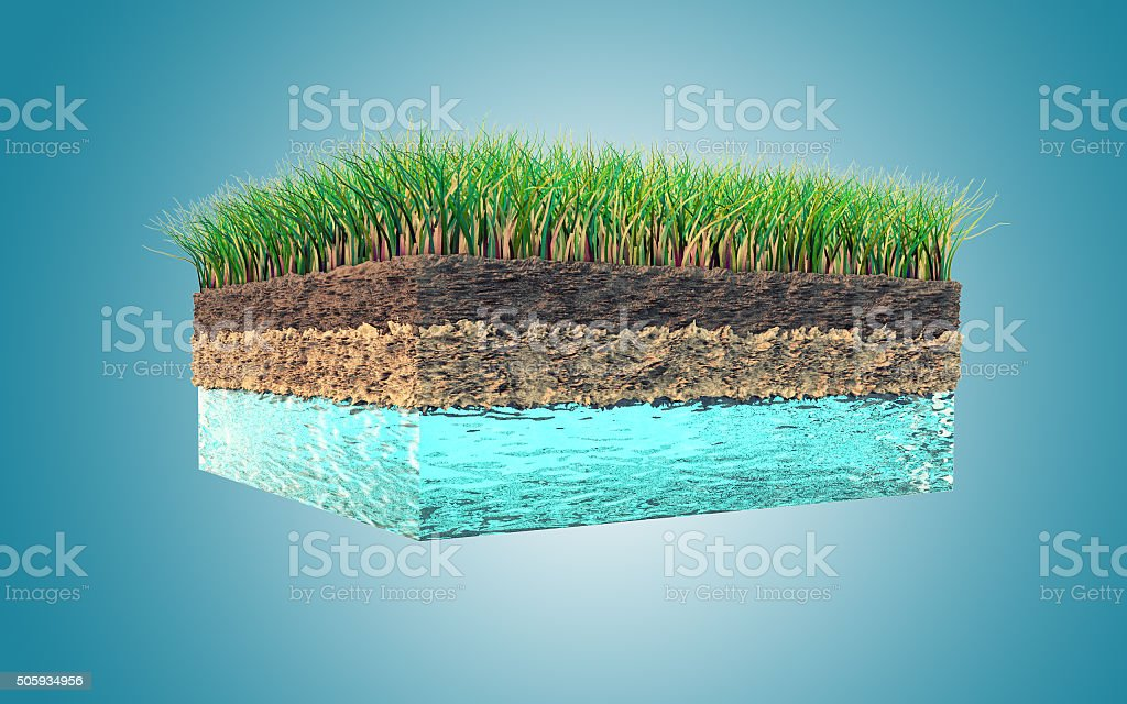Ground cross section (water, soil and grass) stock photo
