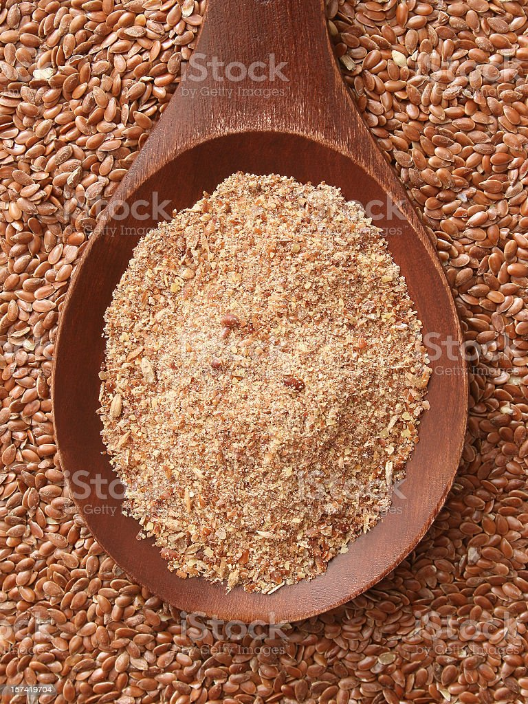 Ground flax seeds stock photo